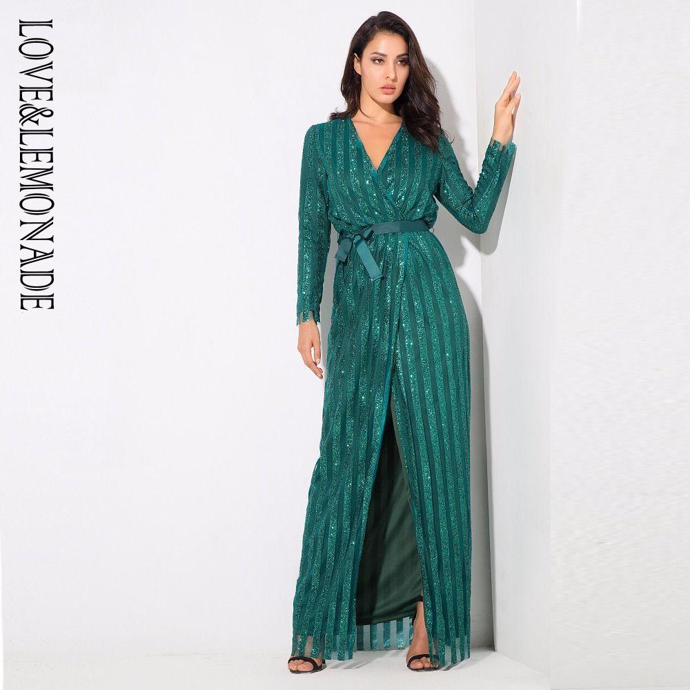 Sexy Stripes Cross V Collar Body Maxi Dresses Green/Silver/Gold ...