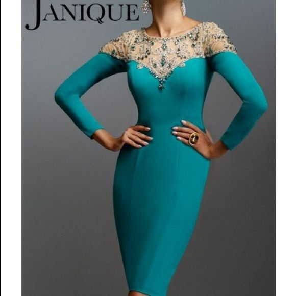 Janique 13745 Long-sleeved Crystal Cocktail dress by Janique Janique Dresses Long Sleeve