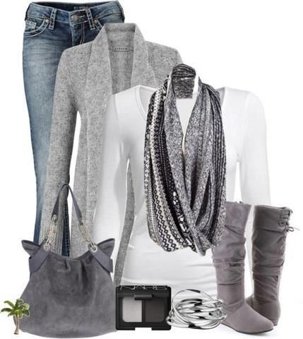 jeans, white shirt, gray sweater, shoes