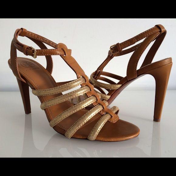 cfd9298de418a Tory burch charlene tan gold gladiator sandal nwt