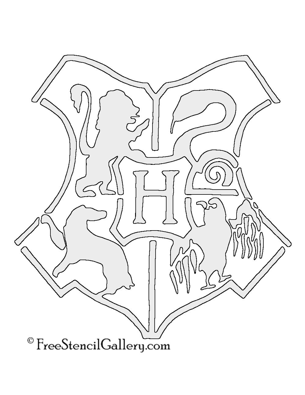 Hogwarts Logo Drawing : hogwarts, drawing, Hogwarts, Crest, Stencil, Harry, Potter, Stencils,, Pumpkin, Carving,