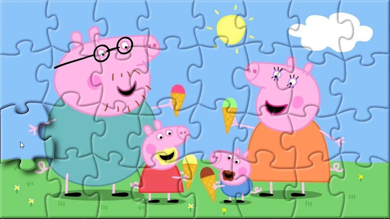Puzzle game Peppa Pig eating ice cream on sunny day for