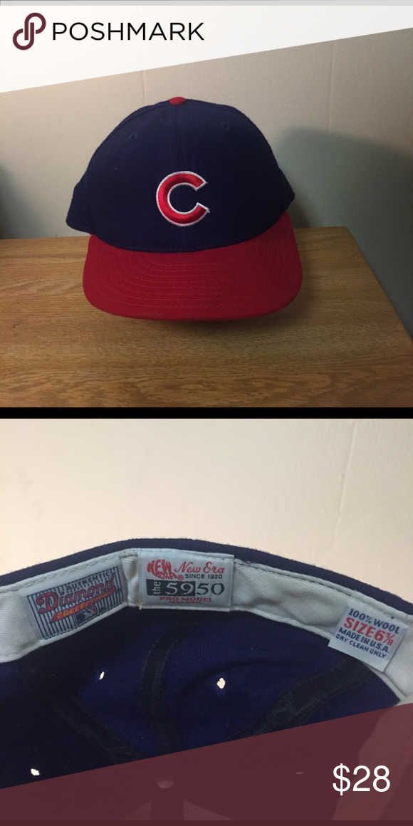 d036fcddddb Vintage MLB Chicago Cubs Pro Model Diamond Hat Vintage MLB Chicago Cubs Pro  Model Diamond Collection New Era Fitted Cap. 1990s. Size 6 5 8.