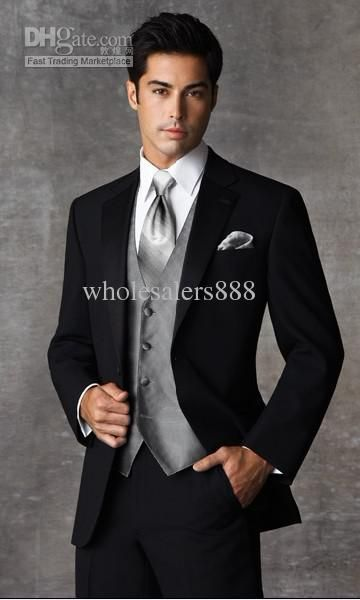 Wholesale Two Buttons Black Groom Tuxedos Notch Lapel Groomsmen Men Wedding Suits(JacketPantsTieVest)H573, Free shipping, $98.1-113.85/Piece | DHgate