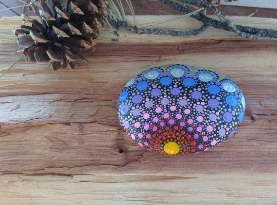 Setting Sun Mandala Stone hand painted by RockGoddessShop on Etsy
