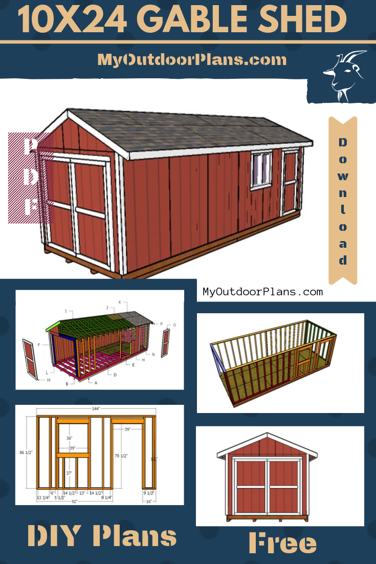 10x24 Gable Storage Shed Free Diy Plans Diy Plans Storage Shed Plans Diy Shed