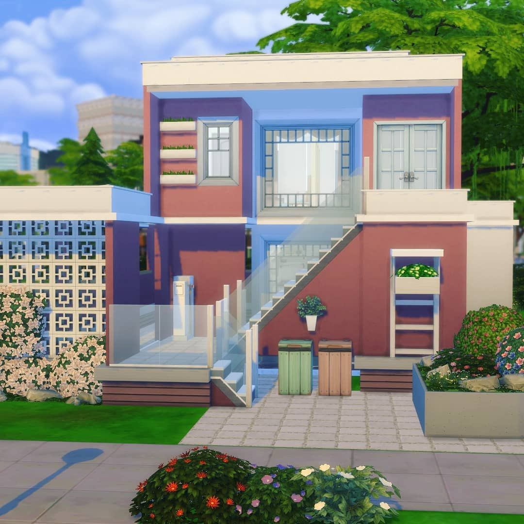 Image May Contain House Tree Sky And Outdoor Sims House Design Sims 4 Modern House Sims House