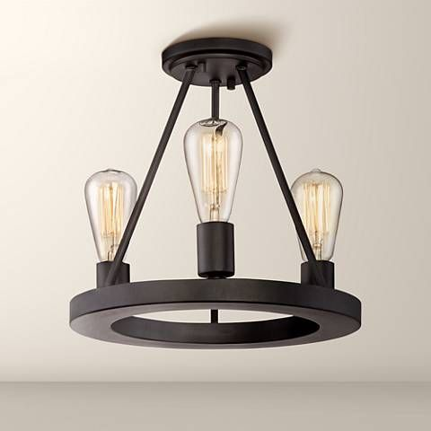 Lacey 13 Wide Black 3 Light Ceiling Light With Edison Bulbs 8f487 Lamps Plus Ceiling Lights Black Ceiling Lighting Black Ceiling