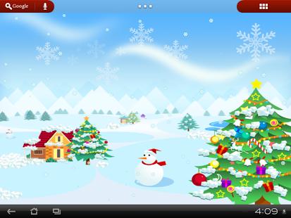 LIVE WALLPAPER CHRISTMAS MERRY SNOW SNOWFALL FESTIVAL SANTA HOLIDAY WINTER CUT OUT SNOWMAN TREE