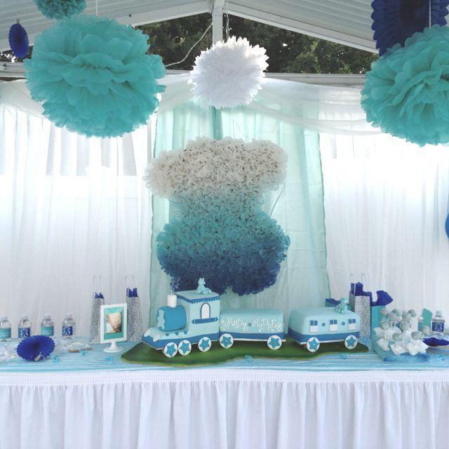 Blue Ombre, Train, Boy Baby Shower!
