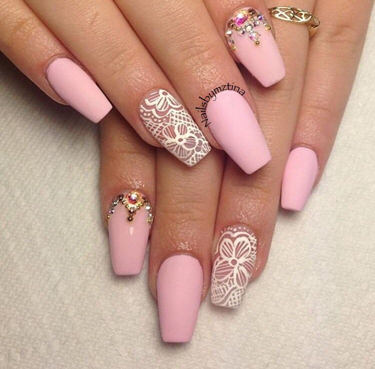 Matte Pink Nails With Flower Design On Ring Finger And Rhinestone Design On Index Finger Lace Nail Design Lace Nail Art Lace Nails