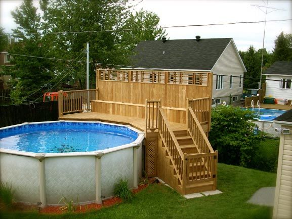 Patio plus patios et piscines maison pinterest for Plan pour deck de piscine