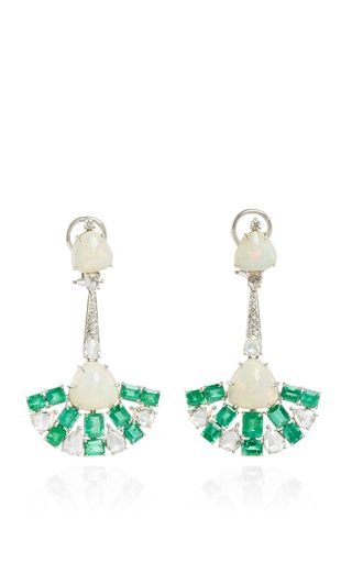 Emerald and Opal Drop Earrings by Sutra