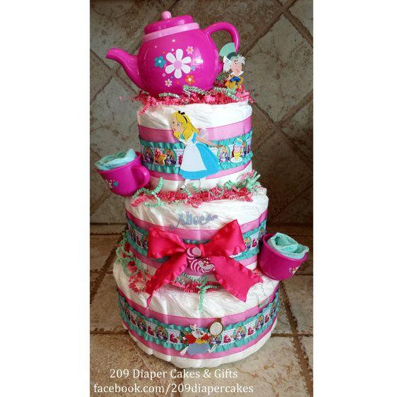 Pink Teal Alice In Wonderland Mad Hatter Tea Party Diaper Cake For