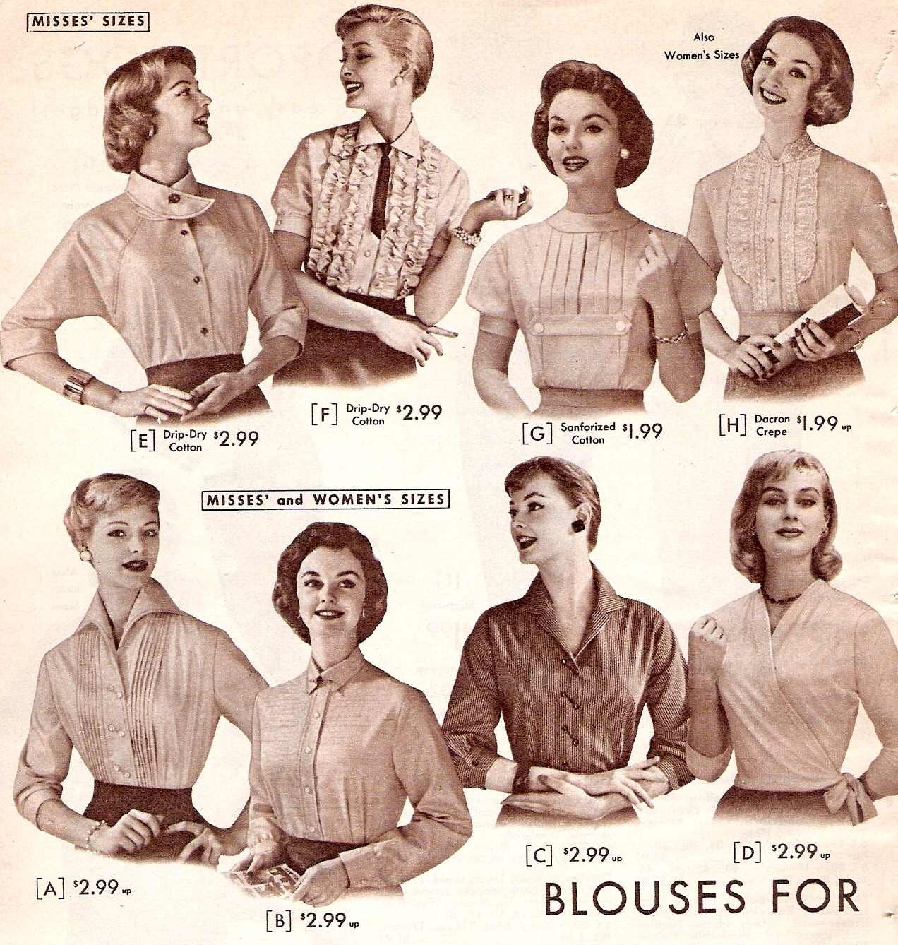1950s Tops And Blouse Styles Style Blouses Fashion Style