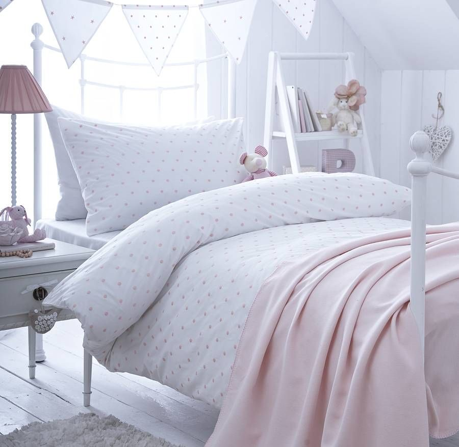 Girl's Pink Spot Embroidered Bedding | Embroidered bedding ... : embroidered quilt covers - Adamdwight.com