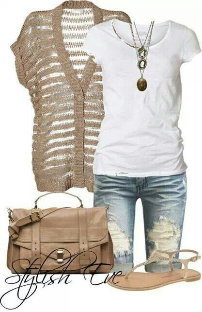 Light wash rippd pedal pushrs, white top, khaki colord stripd sheer cardigan, matchn purse, nude sandals