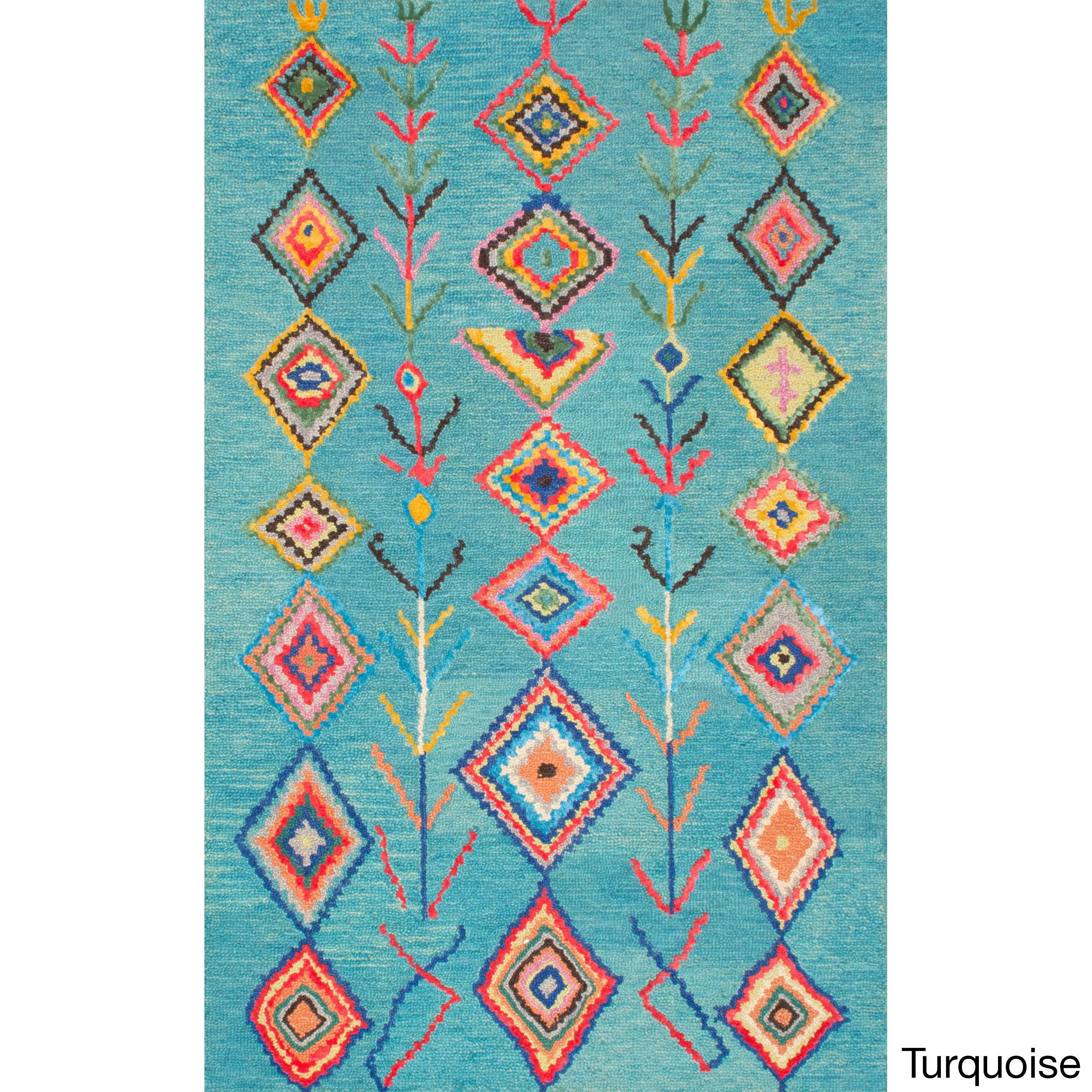 nuLOOM Contemporary Hand Tufted Wool Moroccan Triangle Multi Rug