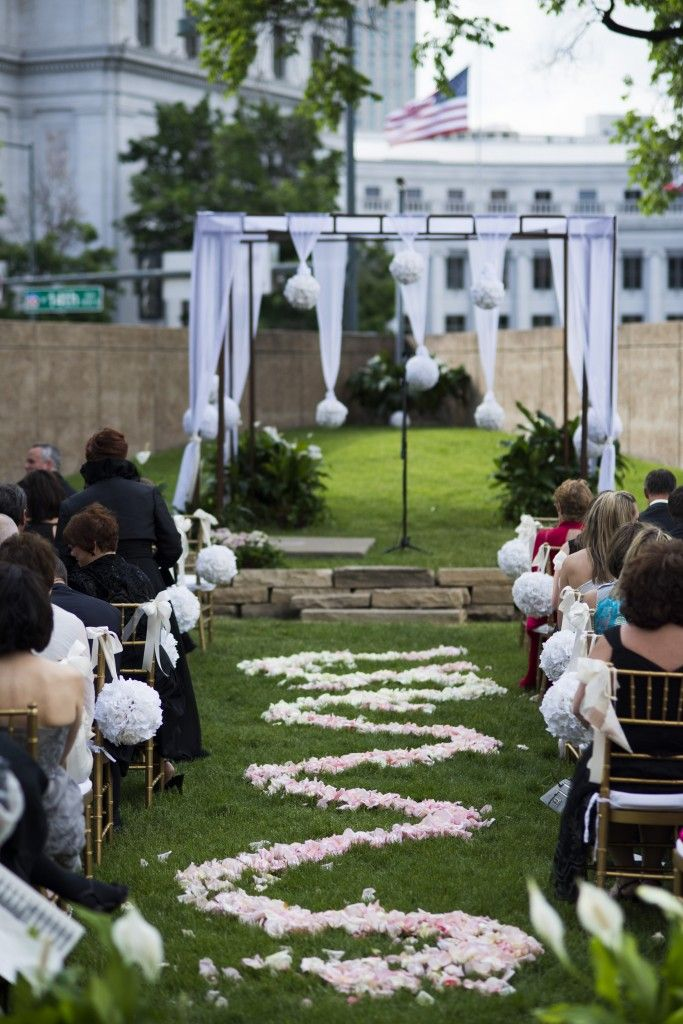 Elegant Outdoor Wedding At The Denver Art Museum Love Flower Petal Path Photo
