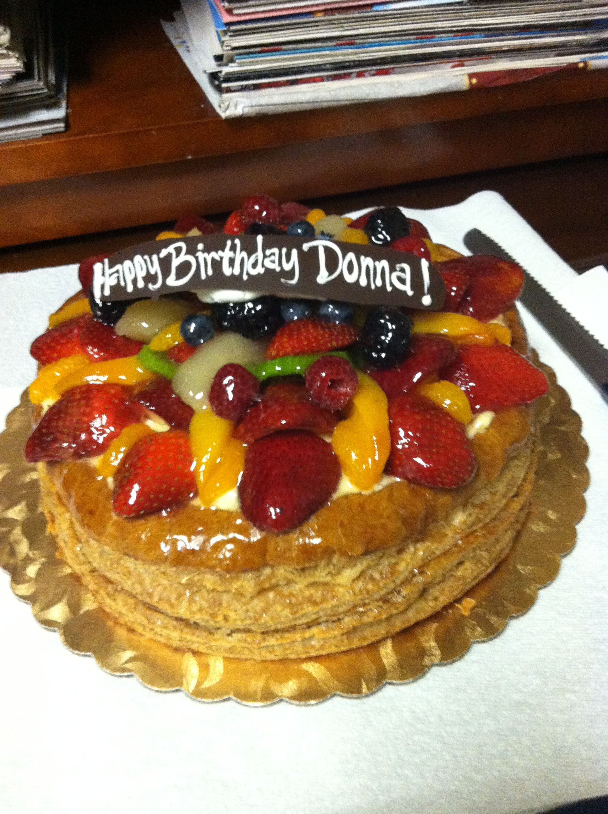 Birthday Cake At The Office ! Fruit Tart From Gelsons