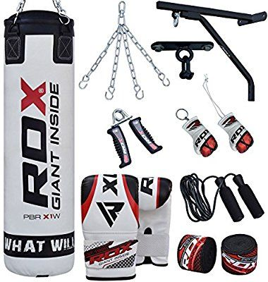 ULTRA FITNESS Boxing 4ft 5ft Filled Heavy Punch Bags set Training Mitt gloves with Wall Bracket and steel Chain