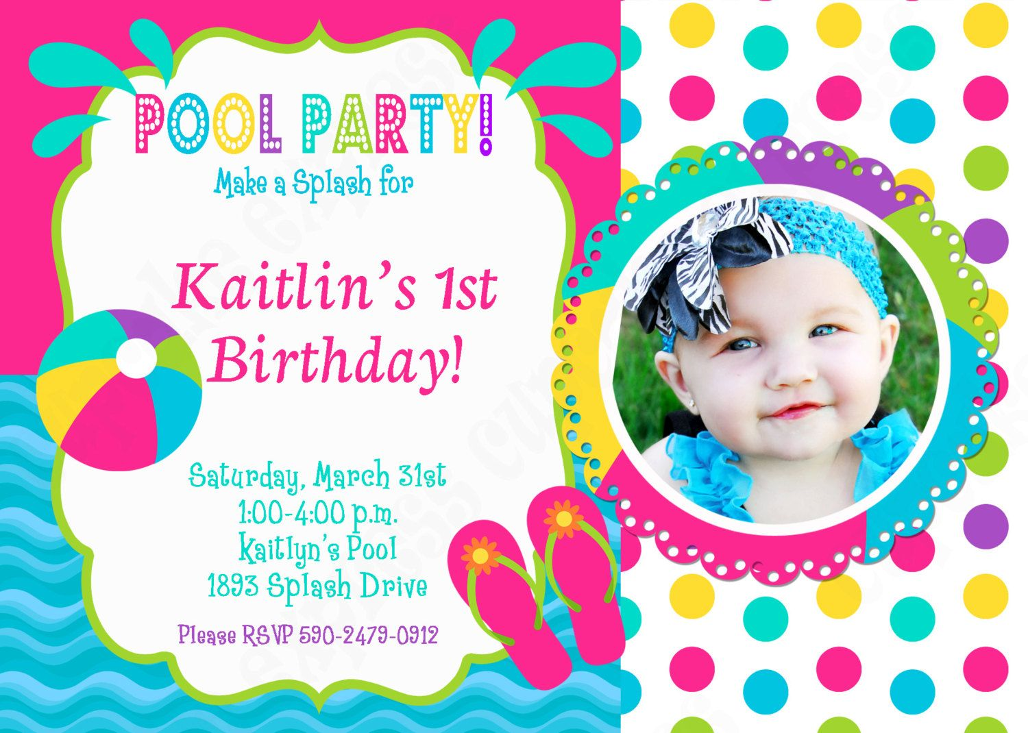 Pool party invitation birthday | Printable Birthday Invitations ...