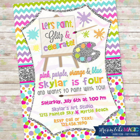 art party invite girl art party art party invitation paint party