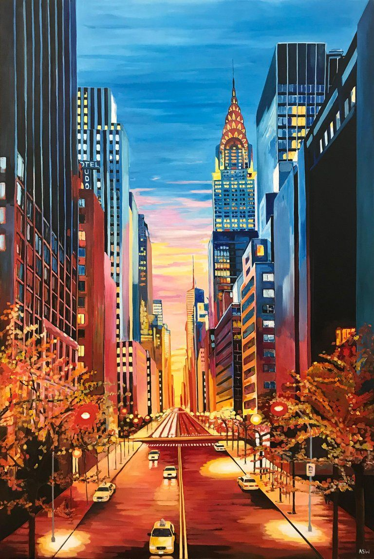 Angela Wakefield Large Painting Of Chrysler Building New York