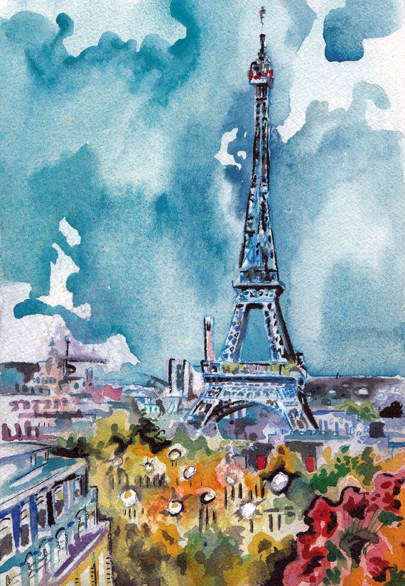 Eiffel Tower Painting Original Watercolor Of Paris By Jen Tracy