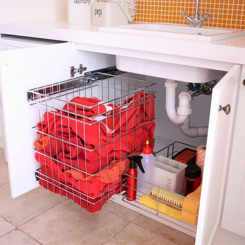 Stainless Steel Pull Out Baskets For Tall Laundry Cabinets