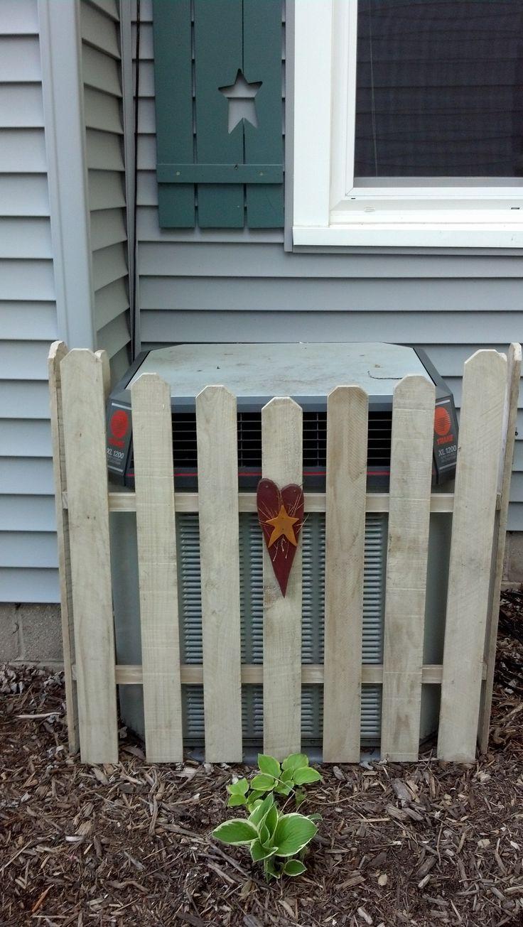 Hiding AC unit yard Diy garden fence, Fenced vegetable