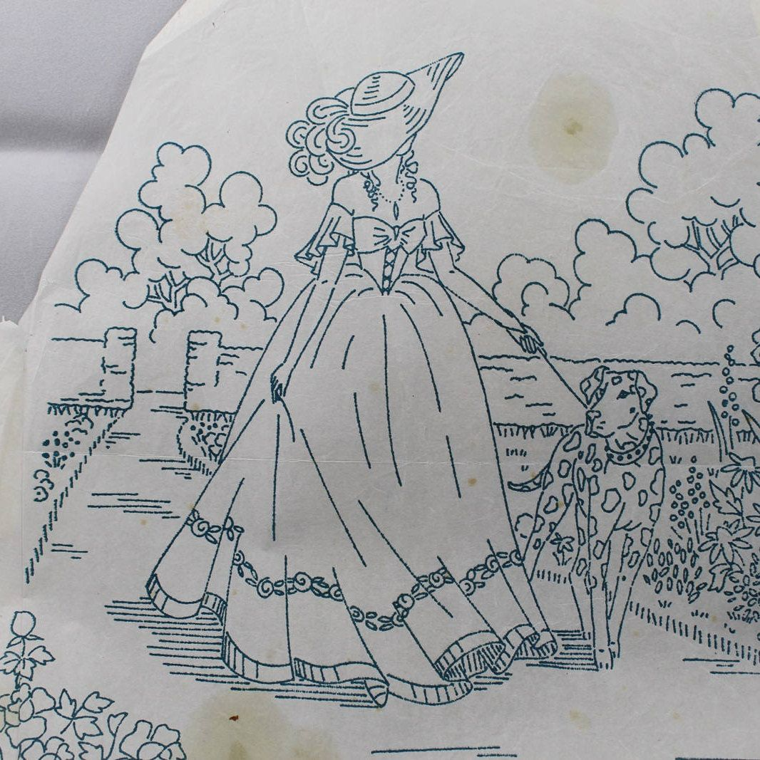 Crinoline Lady & Garden - Vintage Iron-on Embroidery Transfer by ...