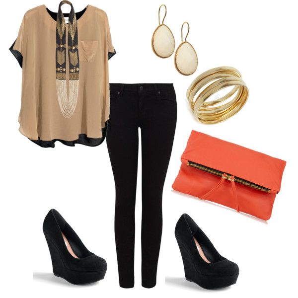 black and tan with colorful clutch