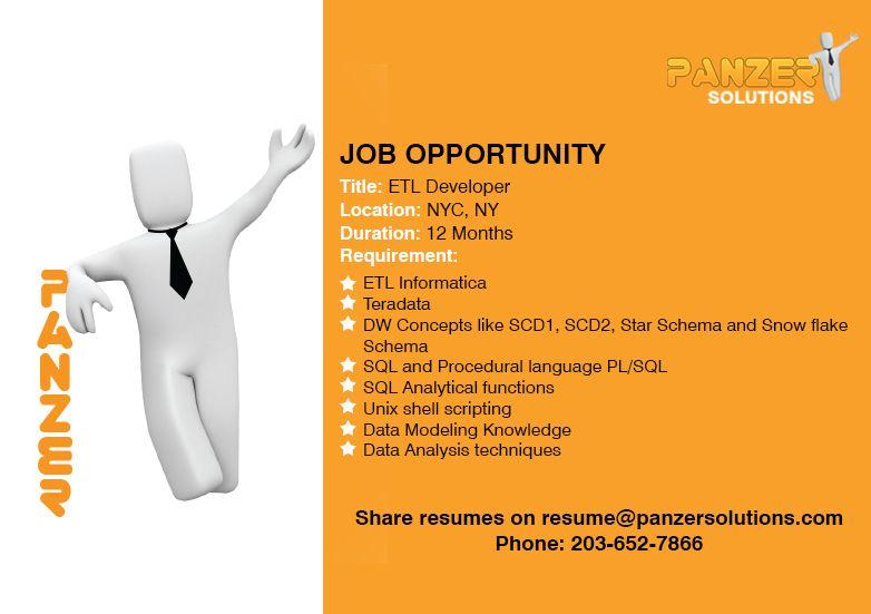 Job title etl developer location new york new york