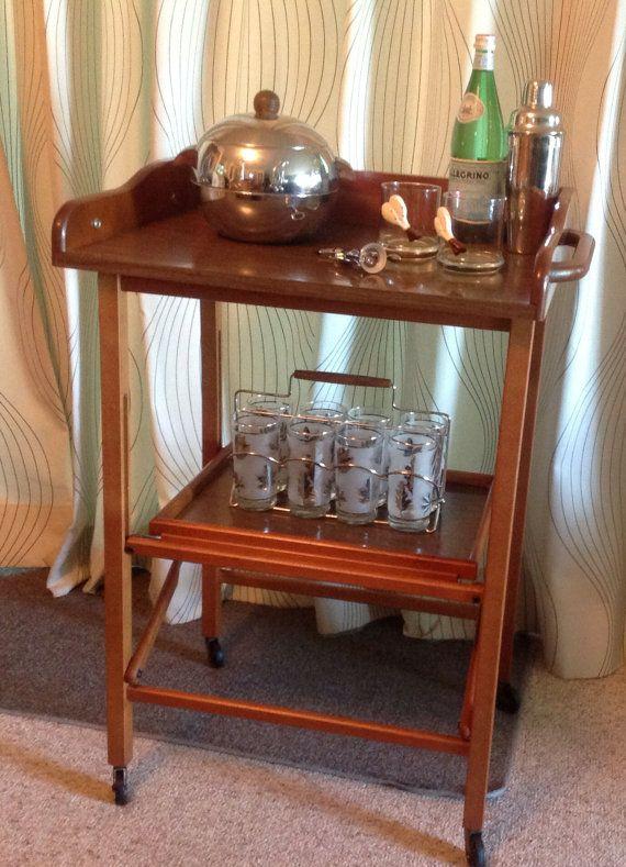 Vintage Mid Century Modern Solid Wood Scheibe Folding Bar