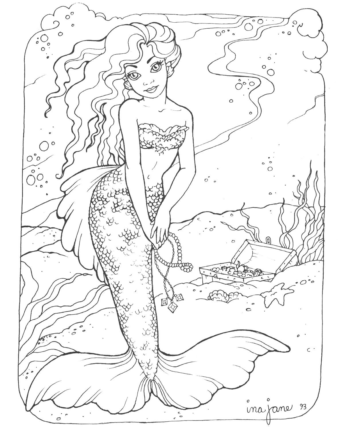 Coloring pages adults mermaids - I Might Print This Out Color It In And Then Use It To Decorate Our Door On Our Cruise This Summer Mermaid Adult Coloring Page