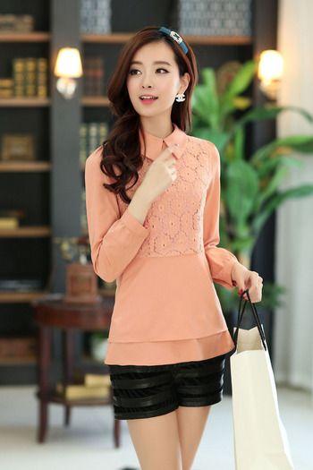 Chiffon Long Sleeve Shirt Lace Embroidery YRB0214