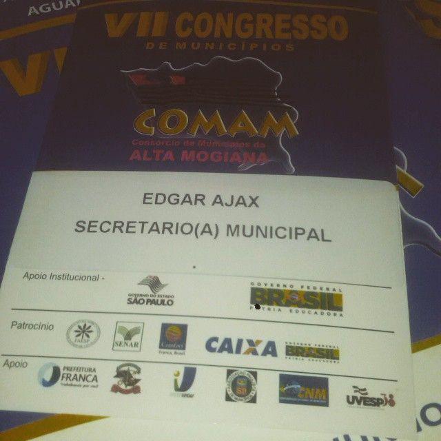 """#BomDia #Trabalho #Educação #Rifaina Hoje estarei no VII Congresso de Municípios do Comam Consorcio, juntamente com minha amiga Rita Maria Pereira Baraldi, representando RIFAINA. """"O trabalho enobrece o homem"""" (Max Weber)"""