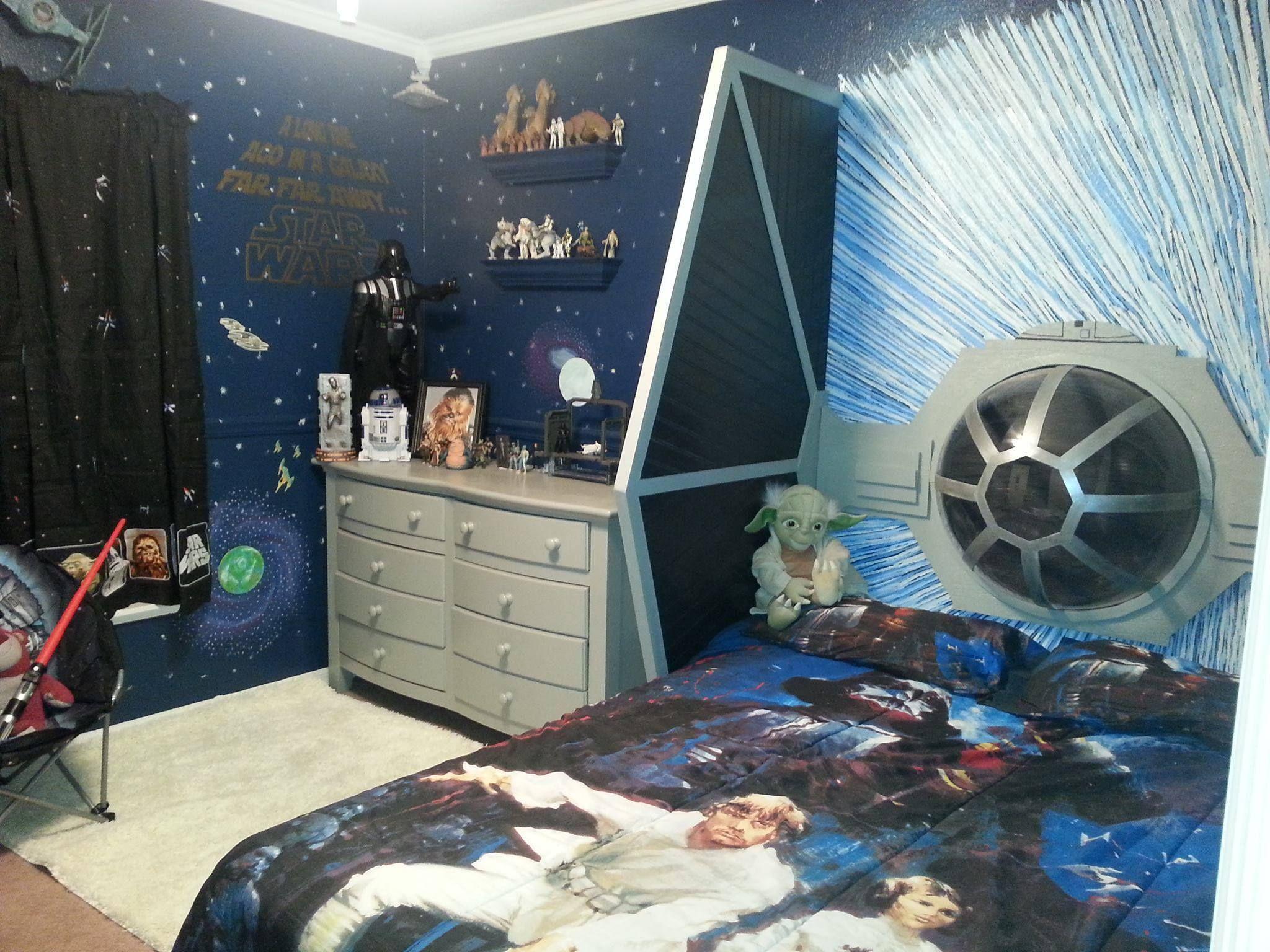 Bedroom , Star Wars Bedroom Ideas For Kids : Star Wars Bedroom Ideas  Wallpaper And Toys And Bedding And Amazing Plane Headboard