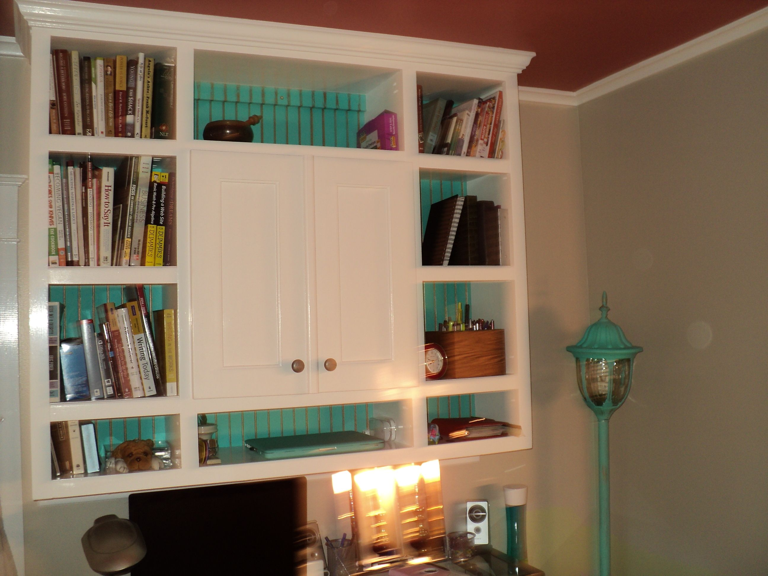 I Designed And Built My First Cabinet Bookshelf Left Room To Build A Corner Will Replace Glass Desk With Cherry Top Bead Board