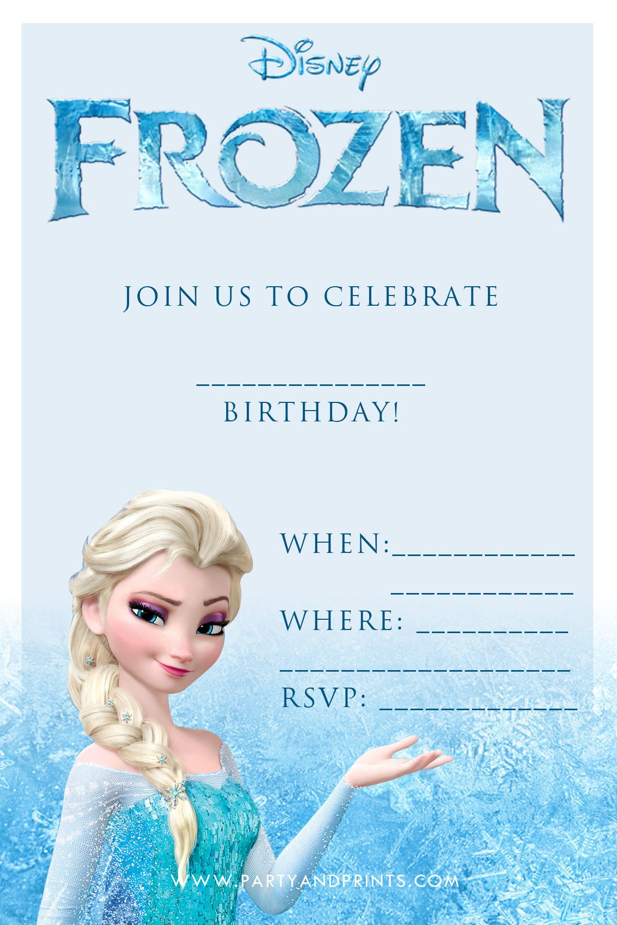 Free Frozen Printable Invitation Download  Frozen party
