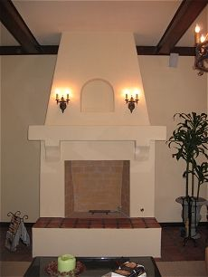 Spanish style stucco/plaster fireplace with Rumford style firebox ...