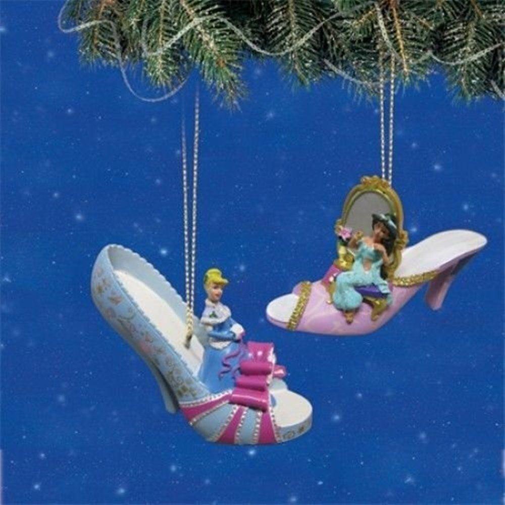 Disney Once Upon a Slipper Ornament Set #8 Cinderella and Jasmine ...