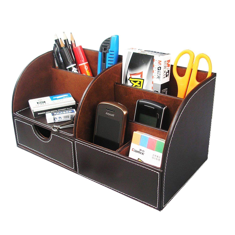 Multifunctional Office Desktop Decor Storage Box Leather Stationery Organizer Pen Pencils Remote Control Mobile Phone Holder Office & School Supplies Desk Accessories & Organizer