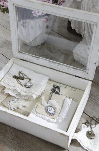 Vintage linens and accessories in a lovely wooden box ...