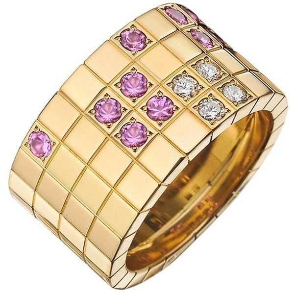 Preowned Cartier ​pink Sapphire Diamond Gold Lanières Band Ring ($4,800) ❤ liked on Polyvore featuring jewelry, rings, blue, wide gold band ring, 18k gold ring, 18 karat gold ring, round diamond ring and cartier ring