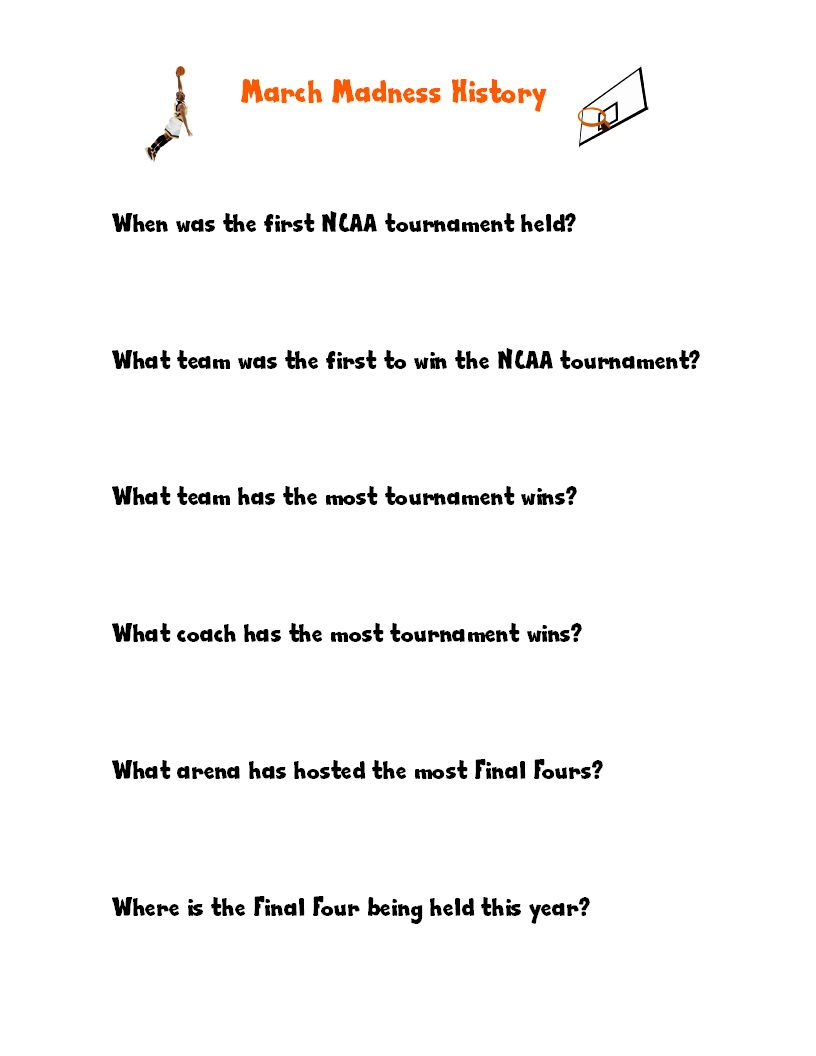 College Basketball Worksheets for Kids Proyectos