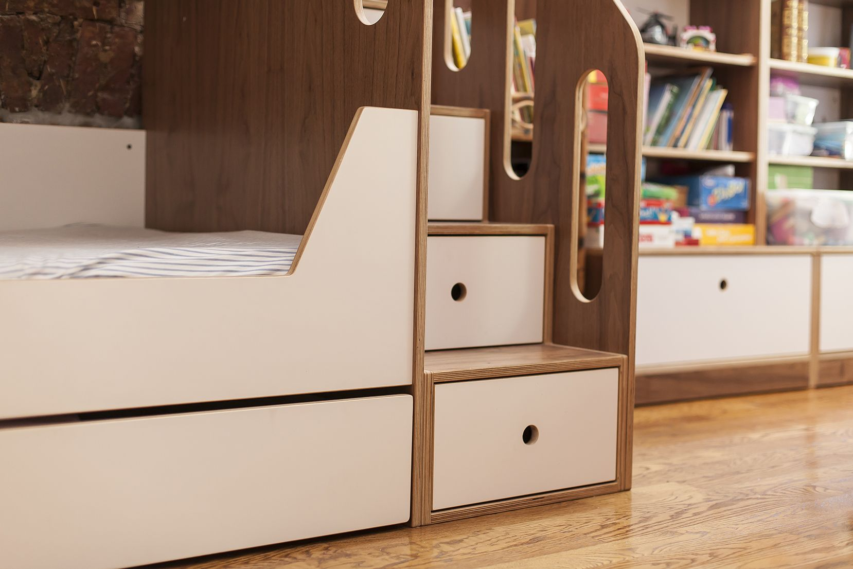 A closer look shows you the beautiful combination of the walnut and white finish.