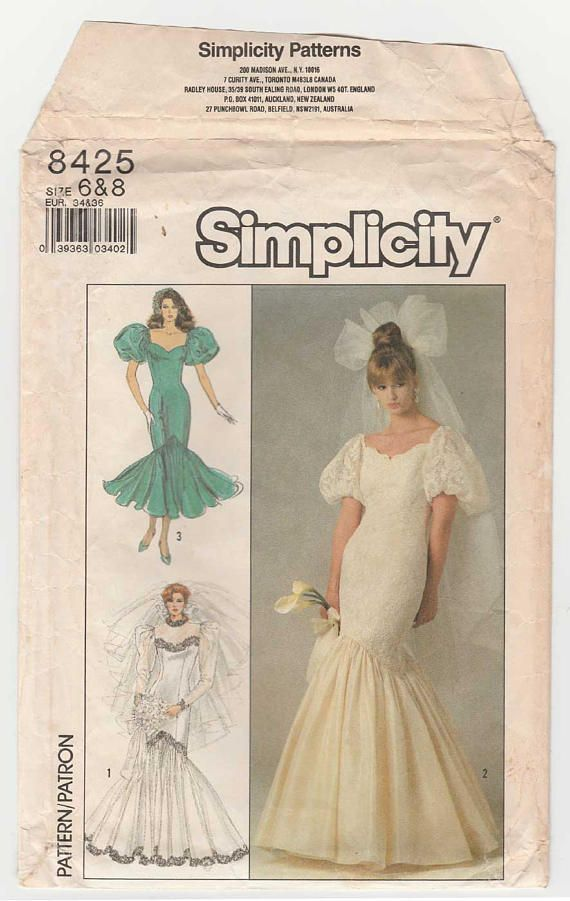 Simplicity 8425 Mermaid Style, Fishtail Brides Wedding Gown and ...