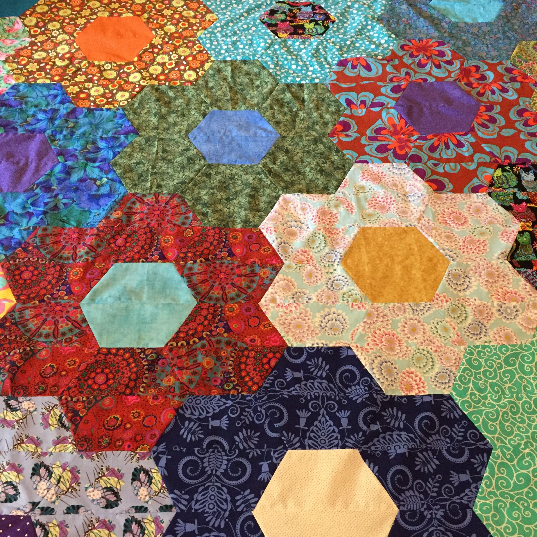 Hexagon flowers quilt quilts flower quilt flowers